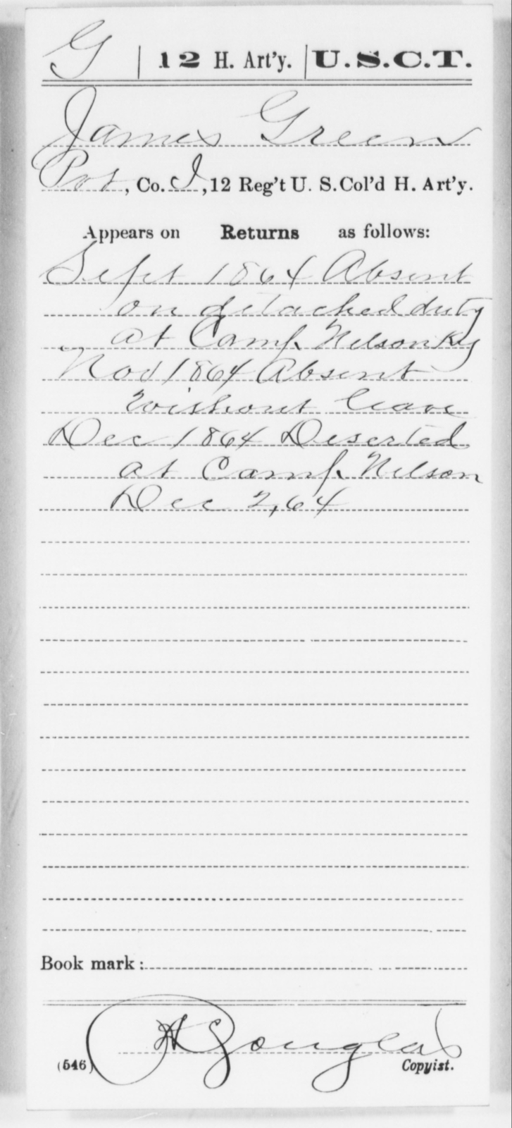 Green, James - Age [Blank], Year: 1864 - 12th US Colored Heavy Artillery, Wo-Y AND Misc Cards, B-H - United States Colored Troops: Artillery Organizations