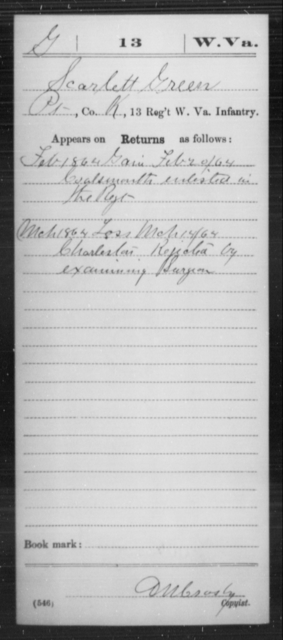 Green, Scarlett - Age [Blank], Year: 1864 - Miscellaneous Card Abstracts of Records - West Virginia