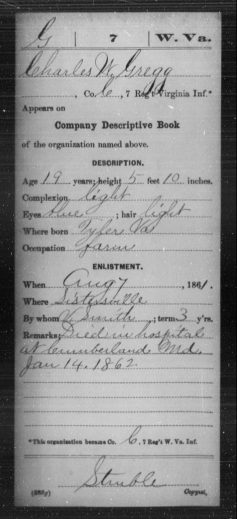 Gregg, Charles W - Age 19, Year: 1861 - Miscellaneous Card Abstracts of Records - West Virginia