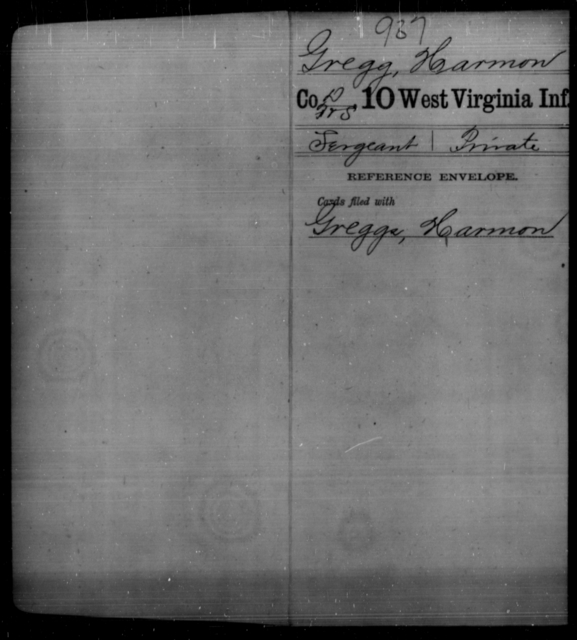 Gregg, Harmon - Age [Blank], Year: [Blank] - Tenth Infantry - West Virginia