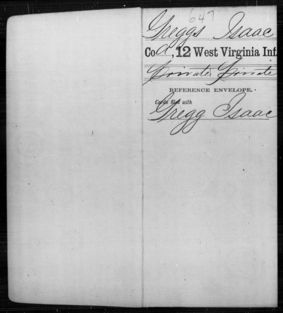 Greggs, Isaac - Age [Blank], Year: [Blank] - Twelfth Infantry - West Virginia