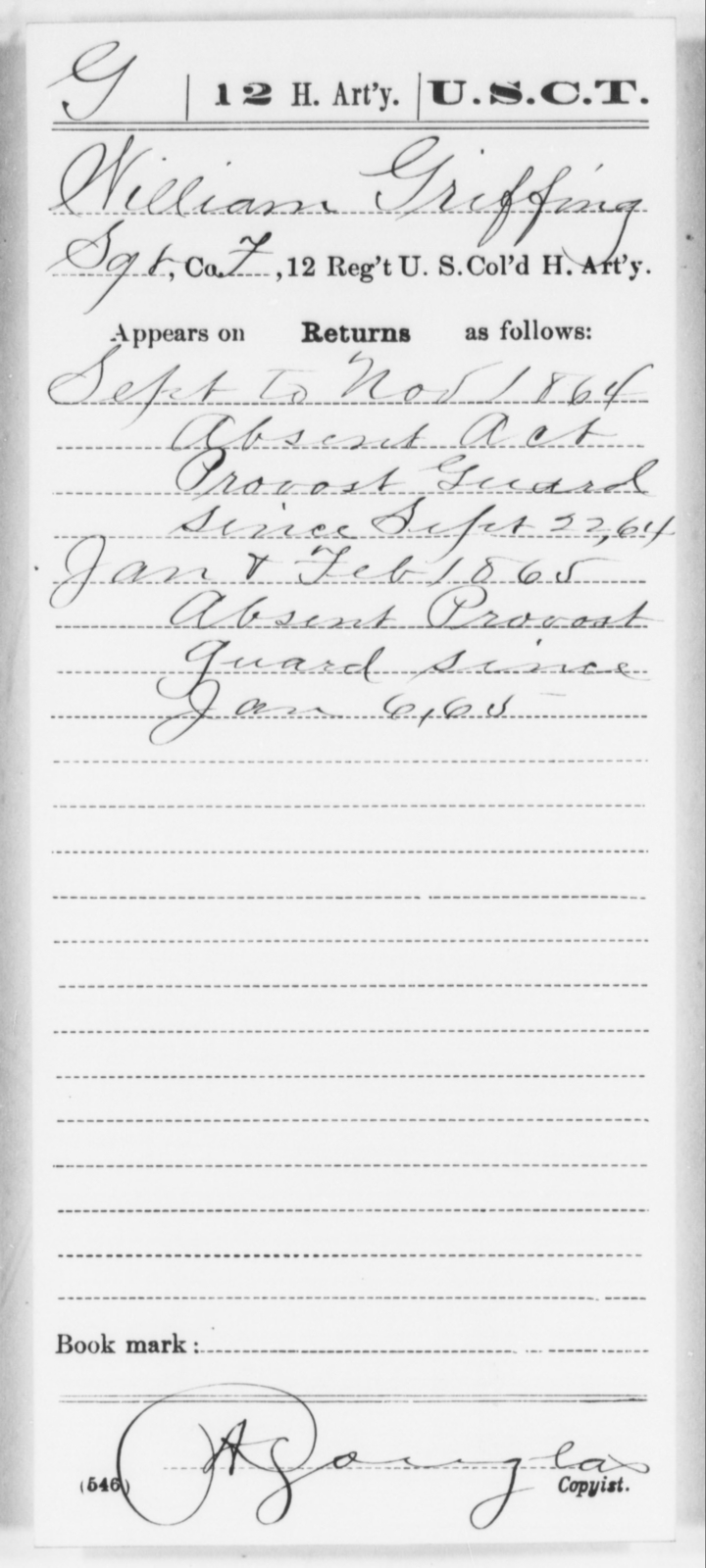 Griffing, William - Age [Blank], Year: 1864 - 12th US Colored Heavy Artillery, Wo-Y AND Misc Cards, B-H - United States Colored Troops: Artillery Organizations