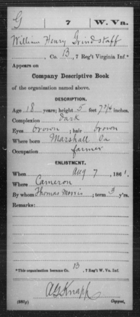 Grindstaff, William Henry - Age 18, Year: 1861 - Miscellaneous Card Abstracts of Records - West Virginia