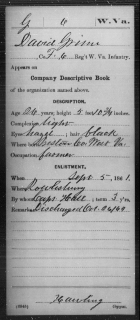 Grinn, David - Age 24, Year: 1861 - Miscellaneous Card Abstracts of Records - West Virginia