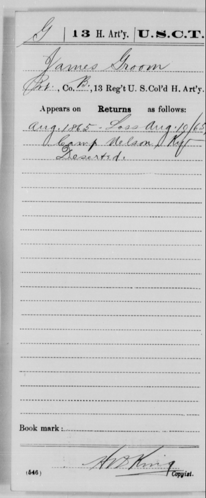 Groom, James - Age [Blank], Year: 1865 - 13th US Colored Heavy Artillery, Misc Cards - United States Colored Troops: Artillery Organizations