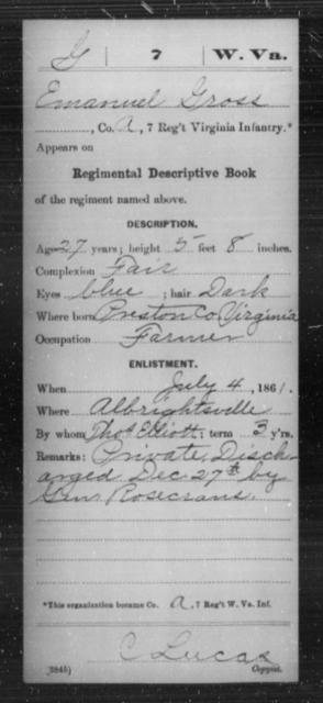 Gross, Emanuel - Age 27, Year: 1861 - Miscellaneous Card Abstracts of Records - West Virginia