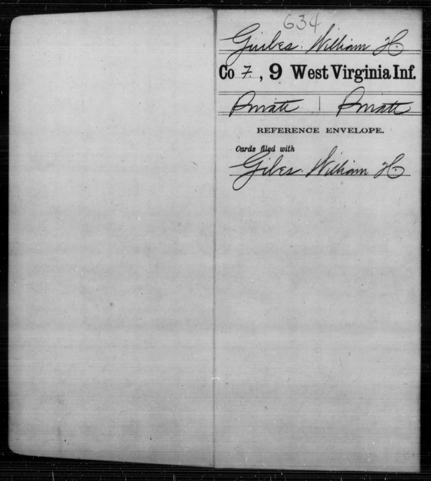Guibes, William H - Age [Blank], Year: [Blank] - Ninth Infantry - West Virginia