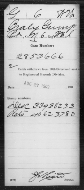 Gump, Braly - Age [Blank], Year: [Blank] - Miscellaneous Card Abstracts of Records - West Virginia