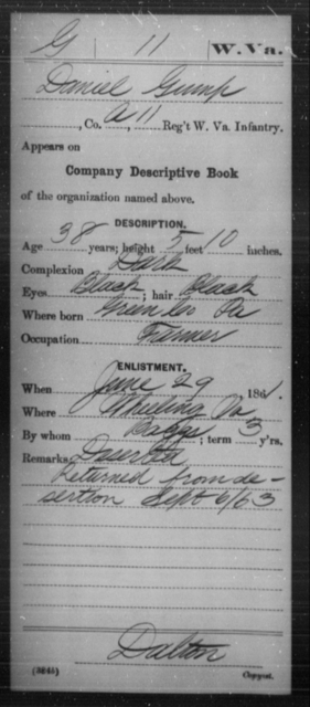 Gump, Daniel - Age 38, Year: 1861 - Miscellaneous Card Abstracts of Records - West Virginia