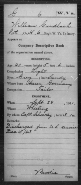 Gundlach, William - Age 40, Year: 1861 - Miscellaneous Card Abstracts of Records - West Virginia