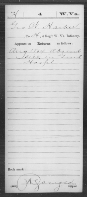 Hacker, Geo W - Age [Blank], Year: 1864 - Miscellaneous Card Abstracts of Records - West Virginia