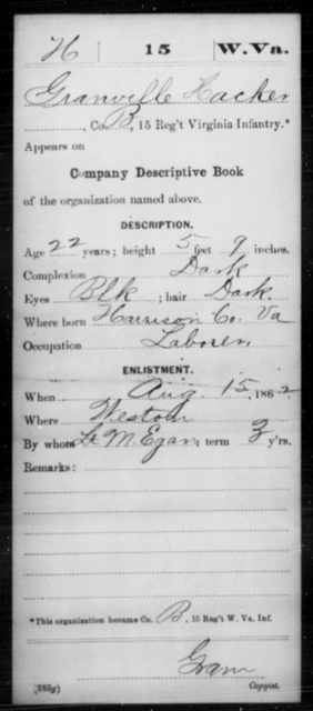 Hacker, Granville - Age 22, Year: 1862 - Miscellaneous Card Abstracts of Records - West Virginia