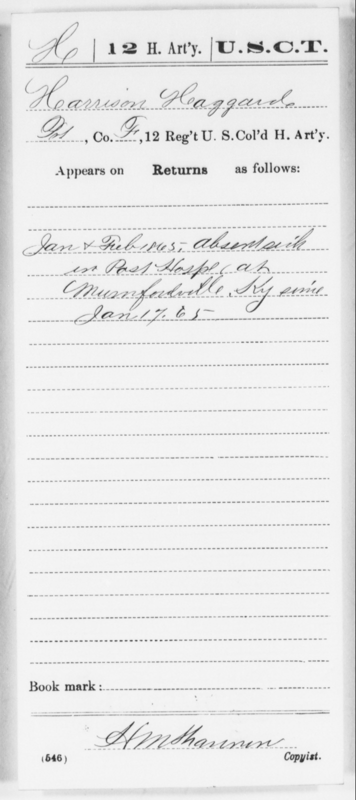 Haggard, Harrison - Age [Blank], Year: 1865 - 12th US Colored Heavy Artillery, Wo-Y AND Misc Cards, B-H - United States Colored Troops: Artillery Organizations