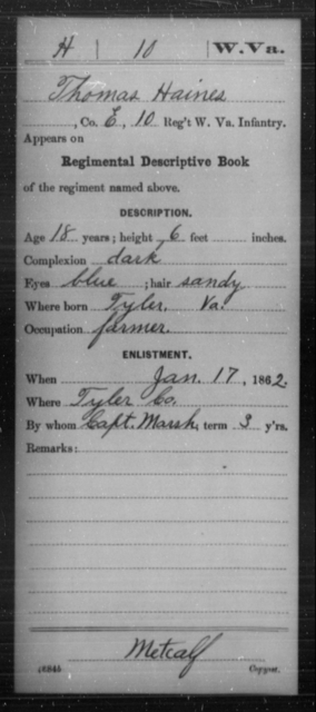 Haines, Thomas - Age 18, Year: 1862 - Miscellaneous Card Abstracts of Records - West Virginia