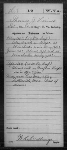 Haines, Thomas J - Age [Blank], Year: 1863 - Miscellaneous Card Abstracts of Records - West Virginia