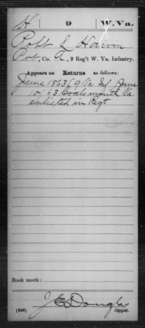 Haivin, Robt L - Age [Blank], Year: 1863 - Miscellaneous Card Abstracts of Records - West Virginia