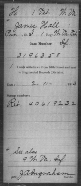 Hall, James - Age [Blank], Year: [Blank] - Miscellaneous Card Abstracts of Records - West Virginia