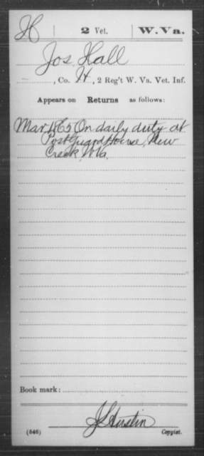 Hall, Jos - Age [Blank], Year: 1865 - Miscellaneous Card Abstracts of Records - West Virginia
