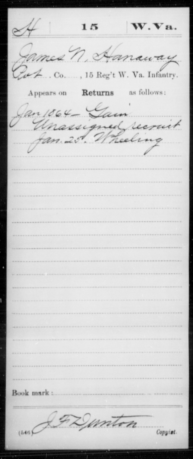 Hanaway, James N - Age [Blank], Year: 1864 - Miscellaneous Card Abstracts of Records - West Virginia
