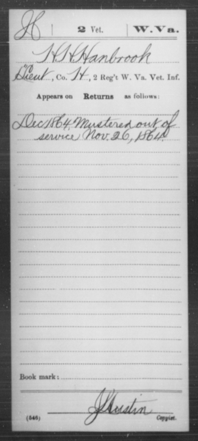 Hanbrook, H H - Age [Blank], Year: 1864 - Miscellaneous Card Abstracts of Records - West Virginia