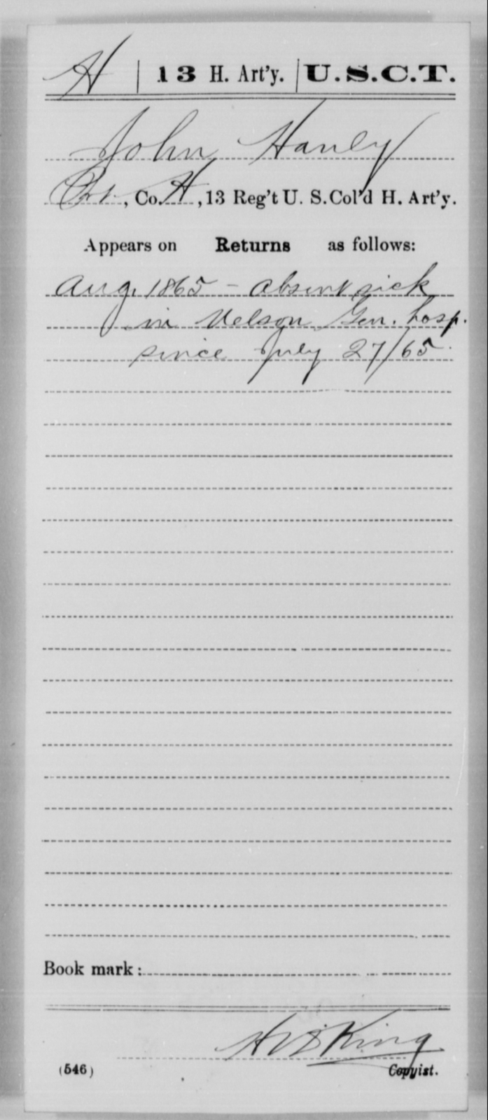 Hanly, John - Age [Blank], Year: 1865 - 13th US Colored Heavy Artillery, Misc Cards - United States Colored Troops: Artillery Organizations