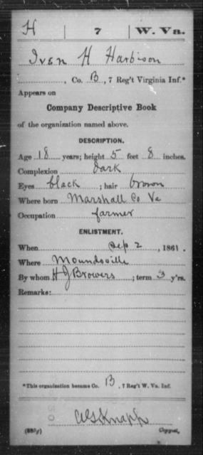 Harbison, Iven H - Age 18, Year: 1861 - Miscellaneous Card Abstracts of Records - West Virginia