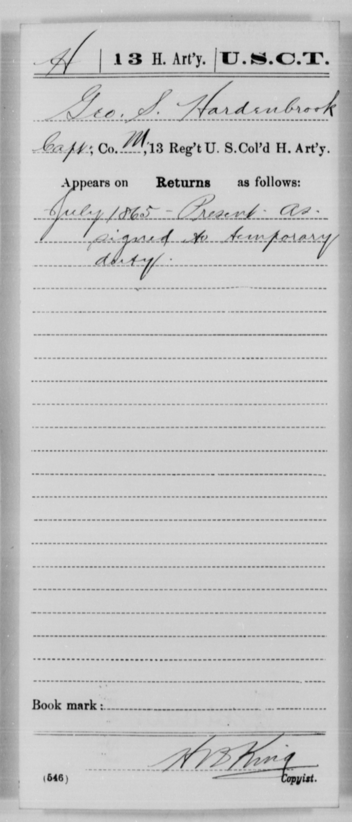 Hardenbrook, Geo S - Age [Blank], Year: 1865 - 13th US Colored Heavy Artillery, Misc Cards - United States Colored Troops: Artillery Organizations