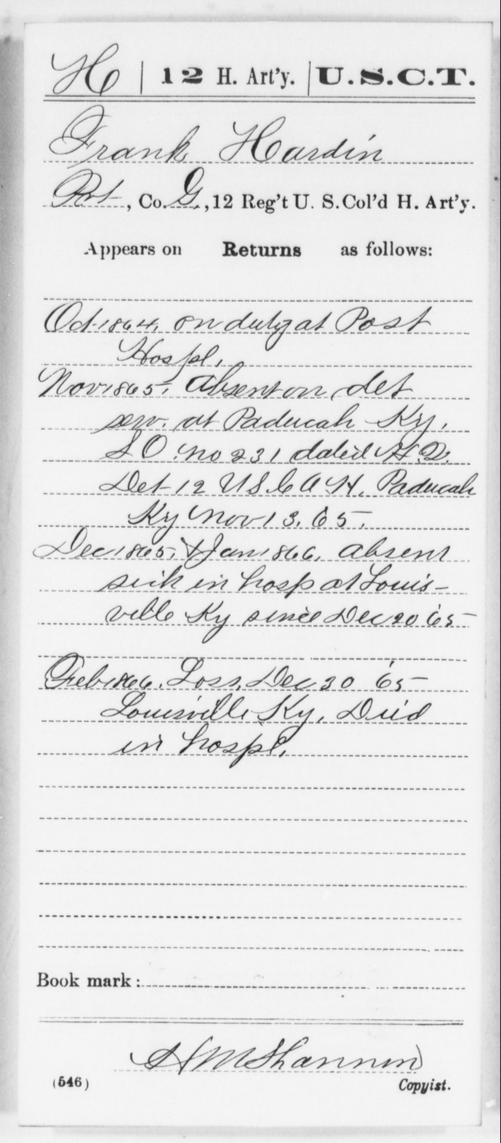 Hardin, Frank - Age [Blank], Year: 1864 - 12th US Colored Heavy Artillery, Wo-Y AND Misc Cards, B-H - United States Colored Troops: Artillery Organizations
