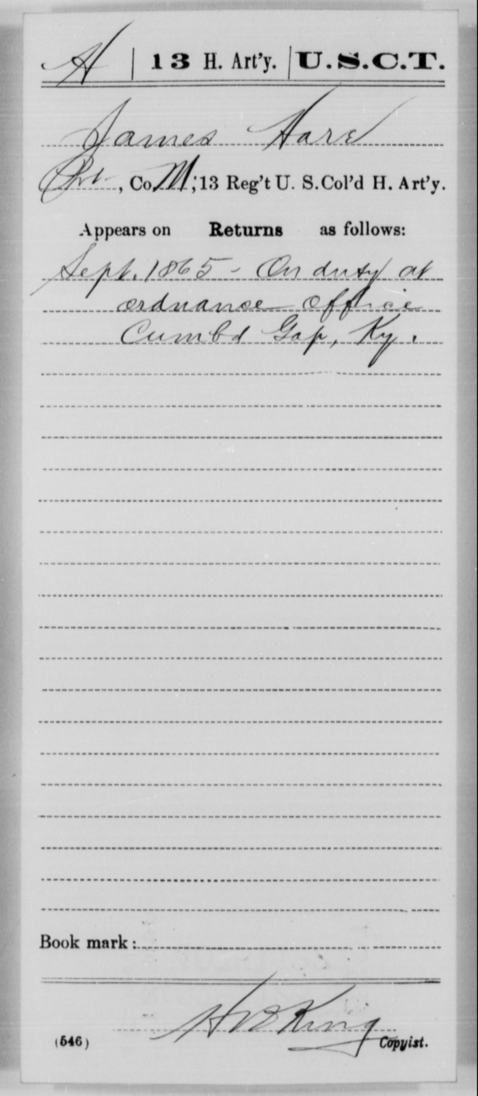 Hare, James - Age [Blank], Year: 1865 - 13th US Colored Heavy Artillery, Misc Cards - United States Colored Troops: Artillery Organizations