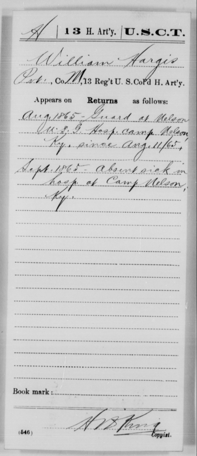 Hargis, William - Age [Blank], Year: 1865 - 13th US Colored Heavy Artillery, Misc Cards - United States Colored Troops: Artillery Organizations