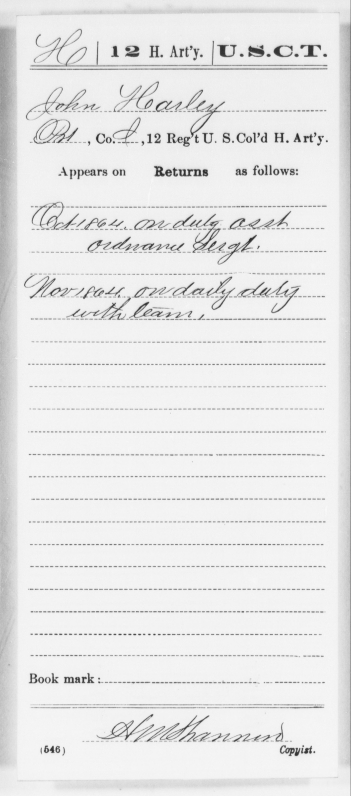 Harley, John - Age [Blank], Year: 1864 - 12th US Colored Heavy Artillery, Wo-Y AND Misc Cards, B-H - United States Colored Troops: Artillery Organizations