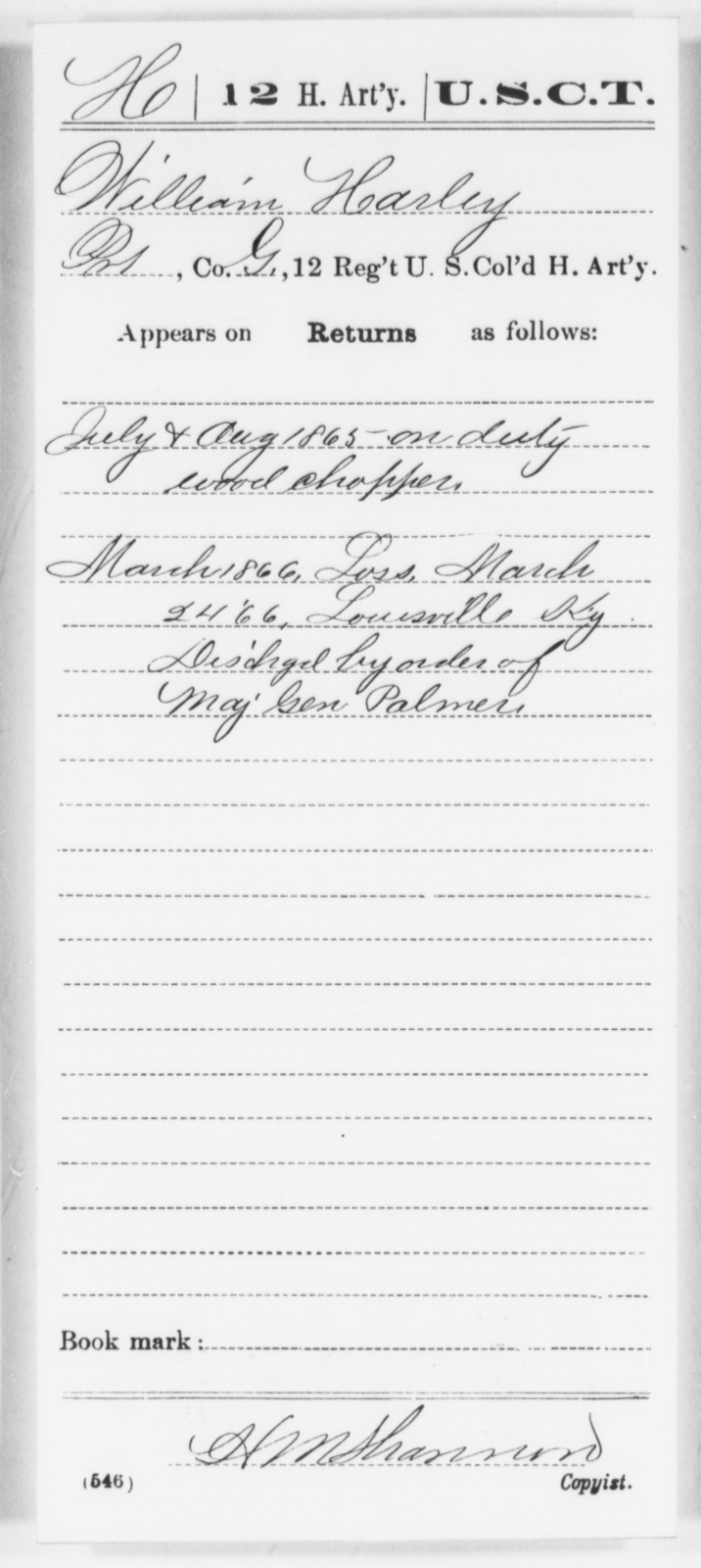 Harley, William - Age [Blank], Year: 1865 - 12th US Colored Heavy Artillery, Wo-Y AND Misc Cards, B-H - United States Colored Troops: Artillery Organizations