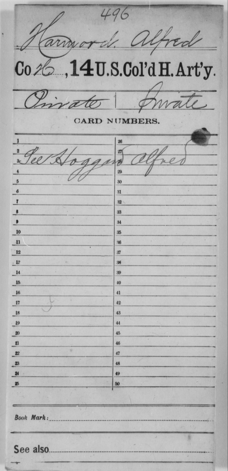 Harmord, Alfred - Age [Blank], Year: [Blank] - 14th US Colored Heavy Artillery - United States Colored Troops: Artillery Organizations