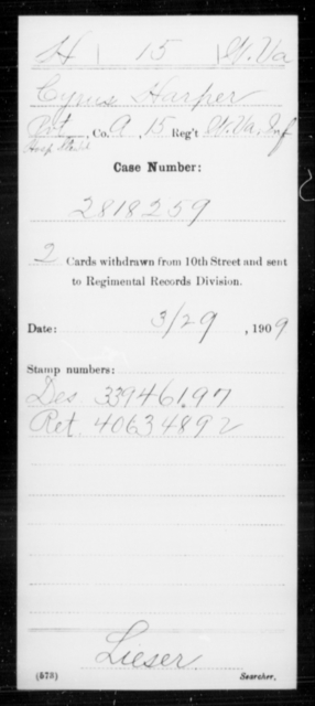 Harper, Cyrus - Age [Blank], Year: [Blank] - Miscellaneous Card Abstracts of Records - West Virginia