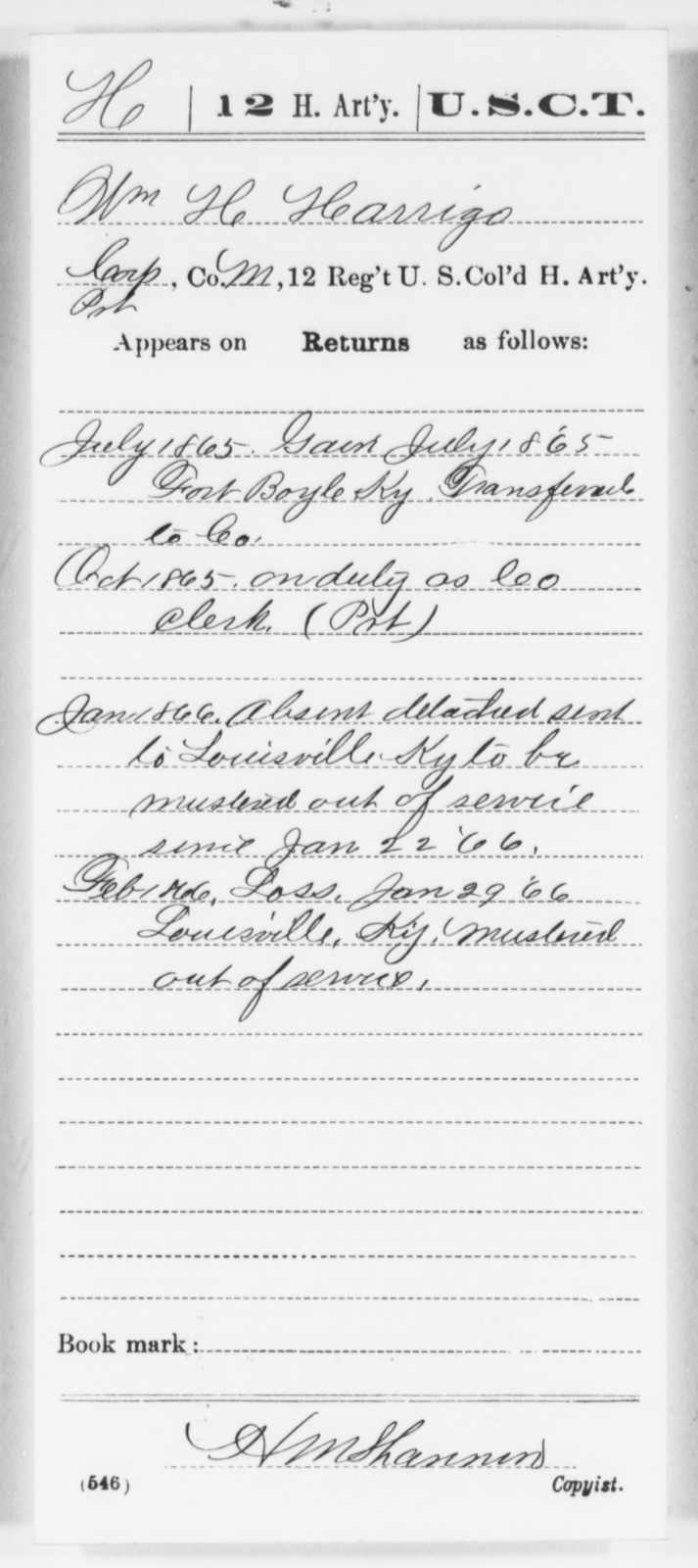 Harrigs, Wm H - Age [Blank], Year: 1865 - 12th US Colored Heavy Artillery, Wo-Y AND Misc Cards, B-H - United States Colored Troops: Artillery Organizations