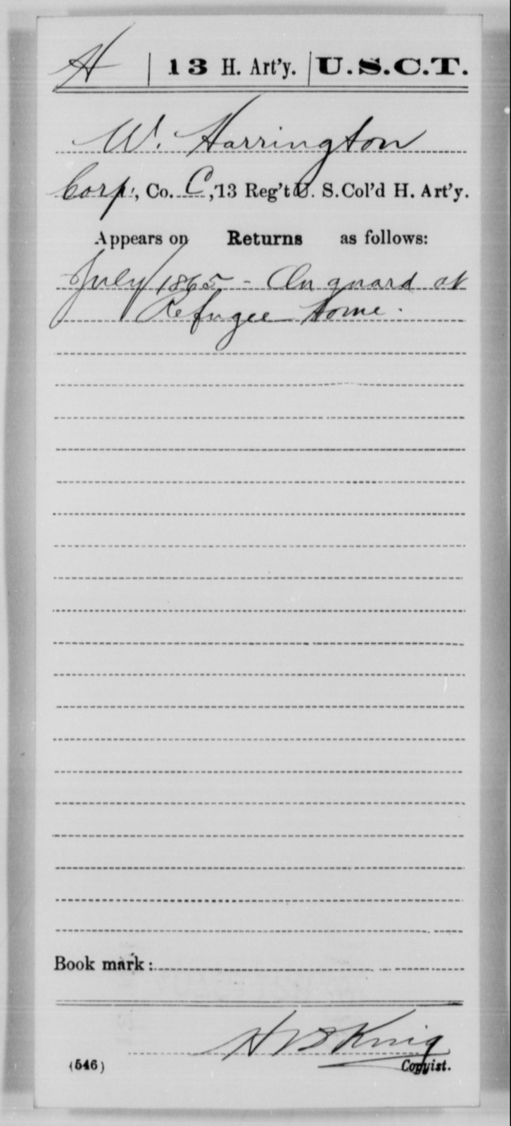 Harrington, W - Age [Blank], Year: 1865 - 13th US Colored Heavy Artillery, Misc Cards - United States Colored Troops: Artillery Organizations