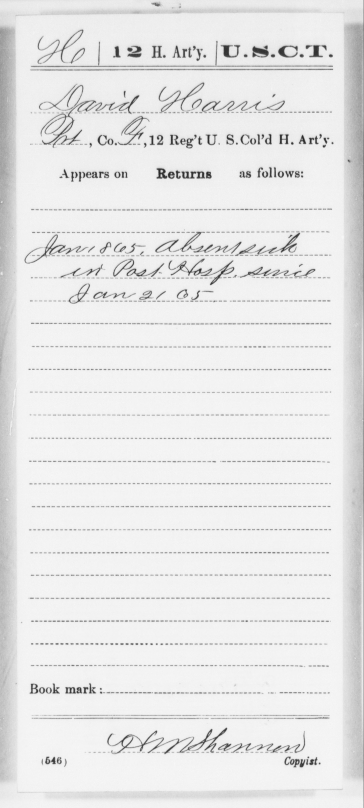 Harris, David - Age [Blank], Year: 1865 - 12th US Colored Heavy Artillery, Wo-Y AND Misc Cards, B-H - United States Colored Troops: Artillery Organizations