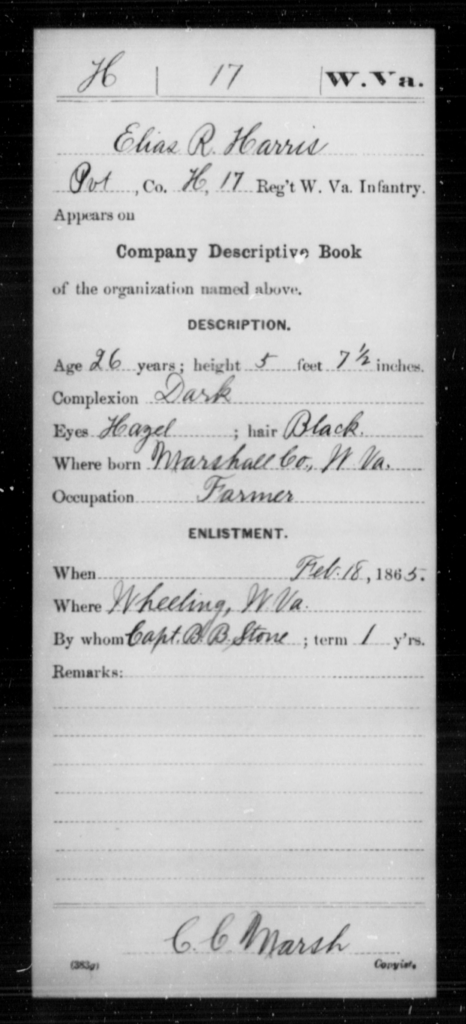 Harris, Elias R - Age 26, Year: 1865 - Miscellaneous Card Abstracts of Records - West Virginia