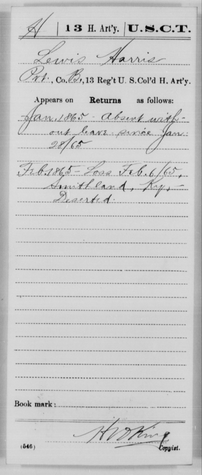 Harris, Lewis - Age [Blank], Year: 1865 - 13th US Colored Heavy Artillery, Misc Cards - United States Colored Troops: Artillery Organizations