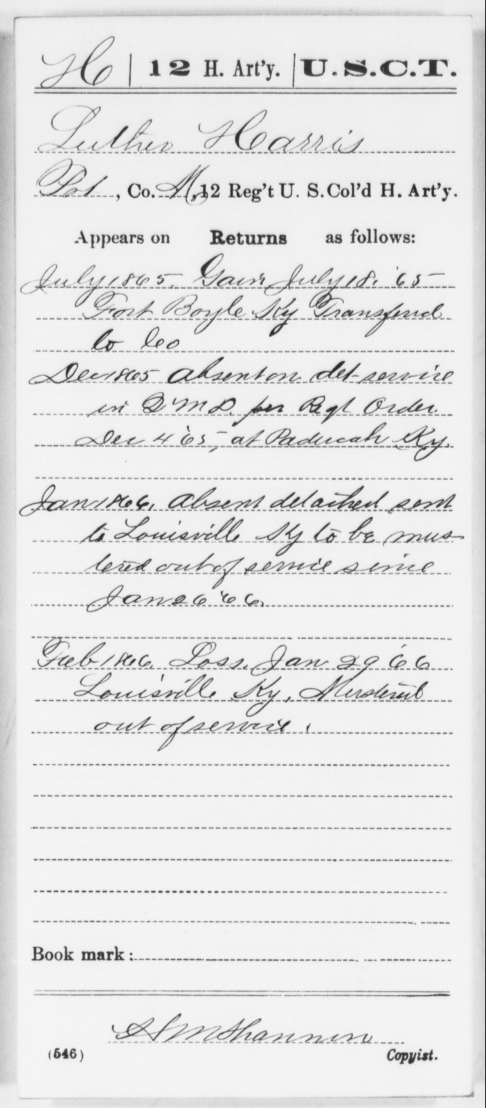 Harris, Luther - Age [Blank], Year: 1865 - 12th US Colored Heavy Artillery, Wo-Y AND Misc Cards, B-H - United States Colored Troops: Artillery Organizations