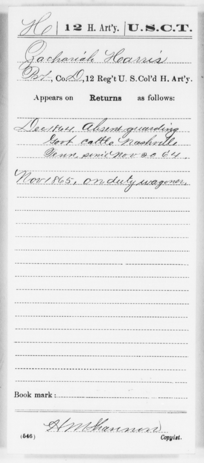Harris, Zachariah - Age [Blank], Year: 1864 - 12th US Colored Heavy Artillery, Wo-Y AND Misc Cards, B-H - United States Colored Troops: Artillery Organizations