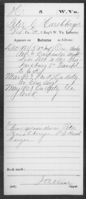Harshberger, Peter C - Age [Blank], Year: 1861 - Miscellaneous Card Abstracts of Records - West Virginia
