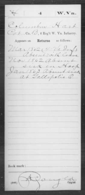 Hart, Columbus - Age [Blank], Year: 1862 - Miscellaneous Card Abstracts of Records - West Virginia