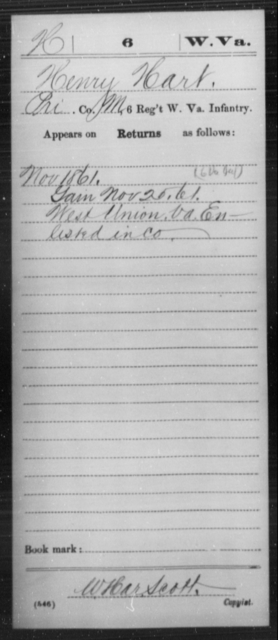 Hart, Henry - Age [Blank], Year: 1861 - Miscellaneous Card Abstracts of Records - West Virginia