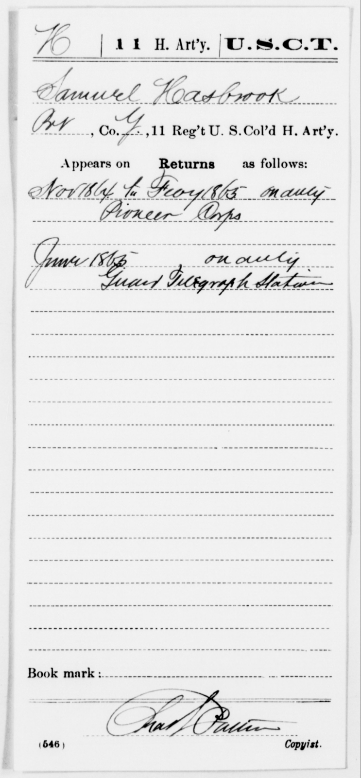 Hasbrook, Samuel - Age [Blank], Year: 1864 - 11th US Colored Heavy Artillery, Misc Cards, E-Y - United States Colored Troops: Artillery Organizations