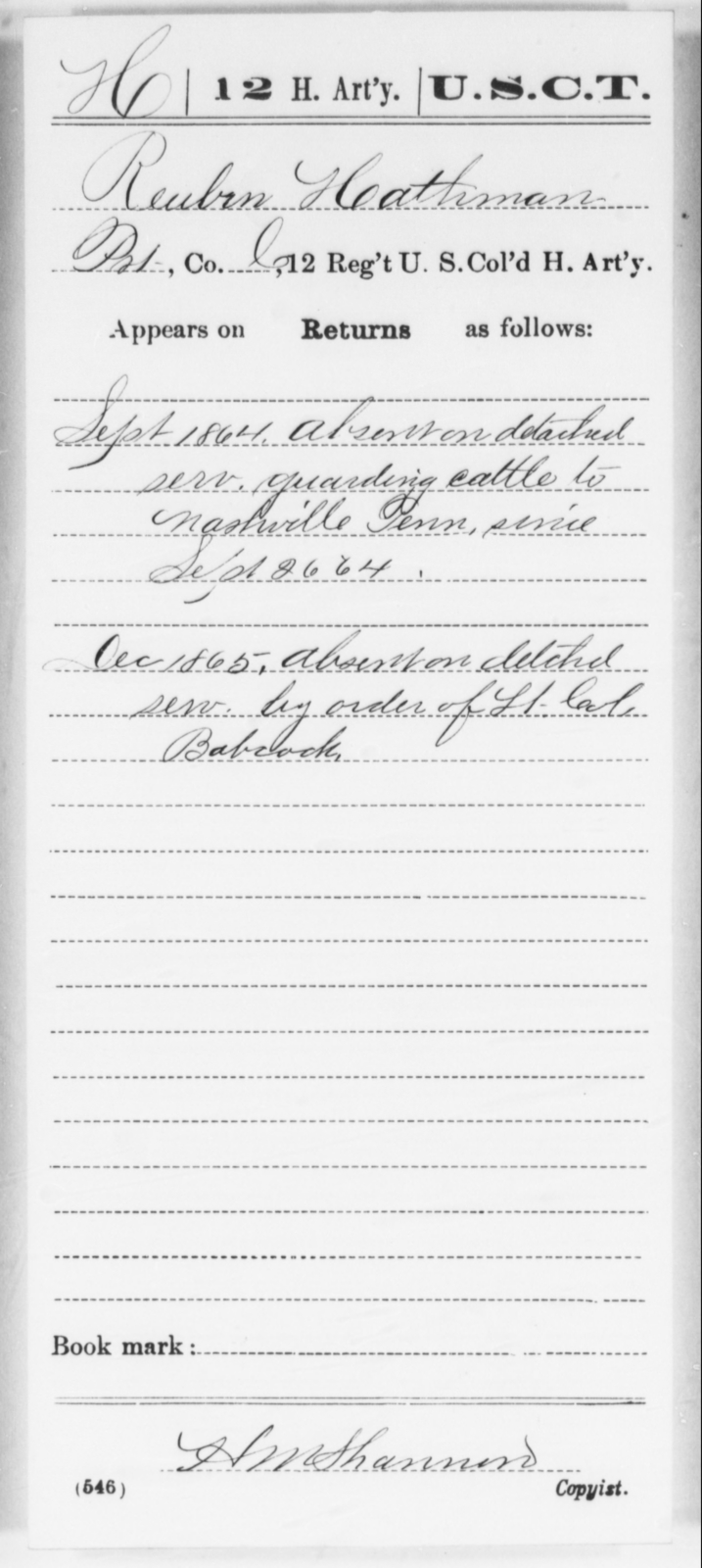 Hathman, Reuben - Age [Blank], Year: 1864 - 12th US Colored Heavy Artillery, Wo-Y AND Misc Cards, B-H - United States Colored Troops: Artillery Organizations