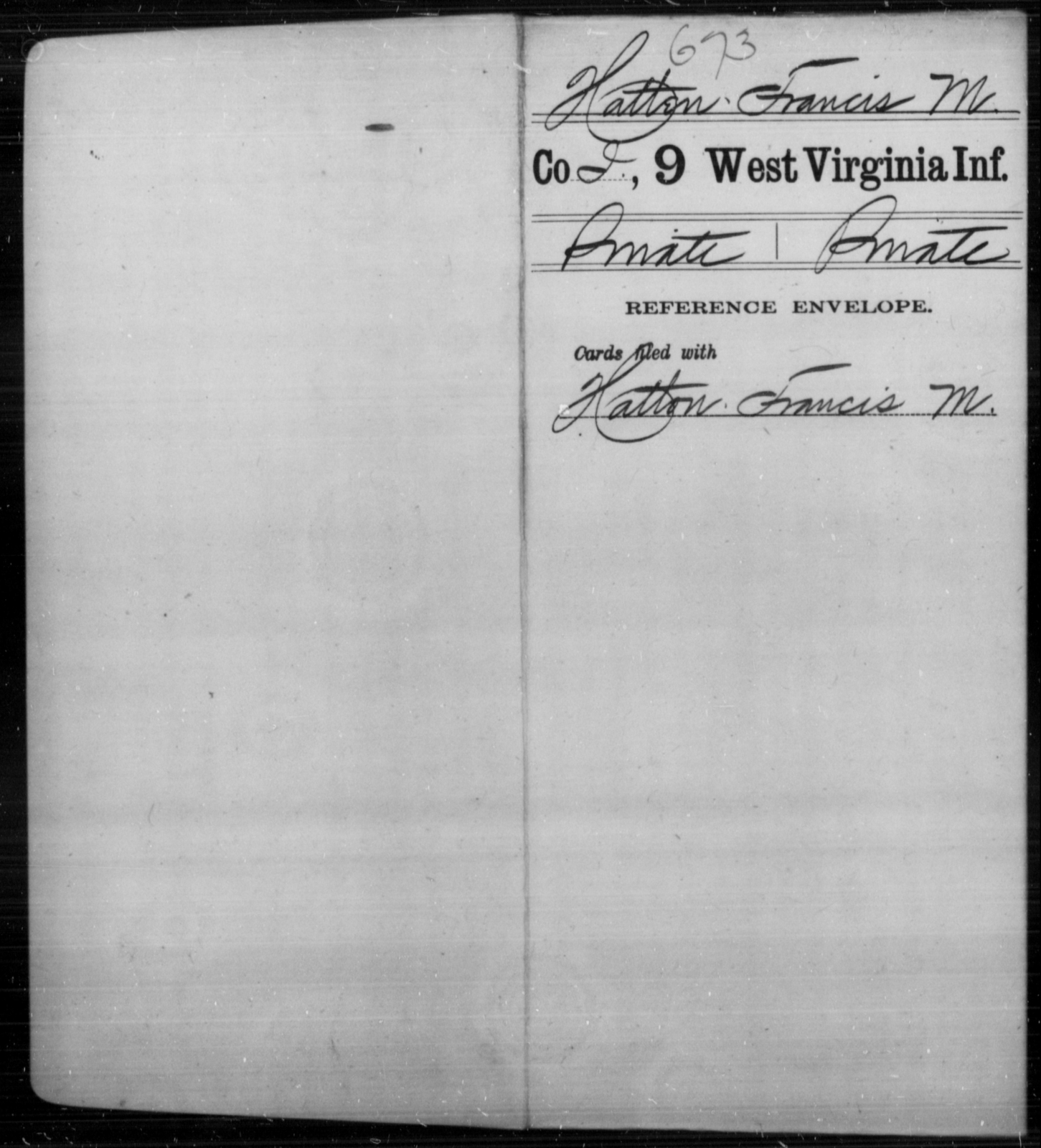Hatten, Francis M - Age [Blank], Year: [Blank] - Ninth Infantry - West Virginia