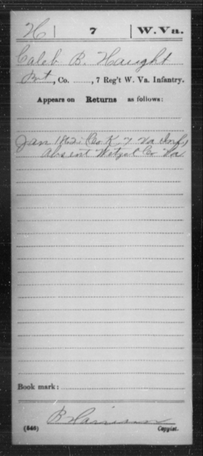 Haught, Caleb B - Age [Blank], Year: 1862 - Miscellaneous Card Abstracts of Records - West Virginia
