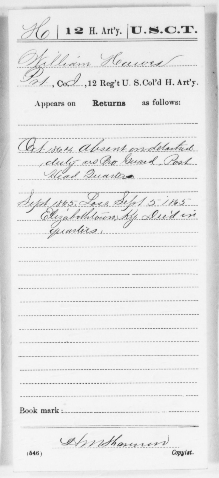 Hawes, William - Age [Blank], Year: 1864 - 12th US Colored Heavy Artillery, Wo-Y AND Misc Cards, B-H - United States Colored Troops: Artillery Organizations