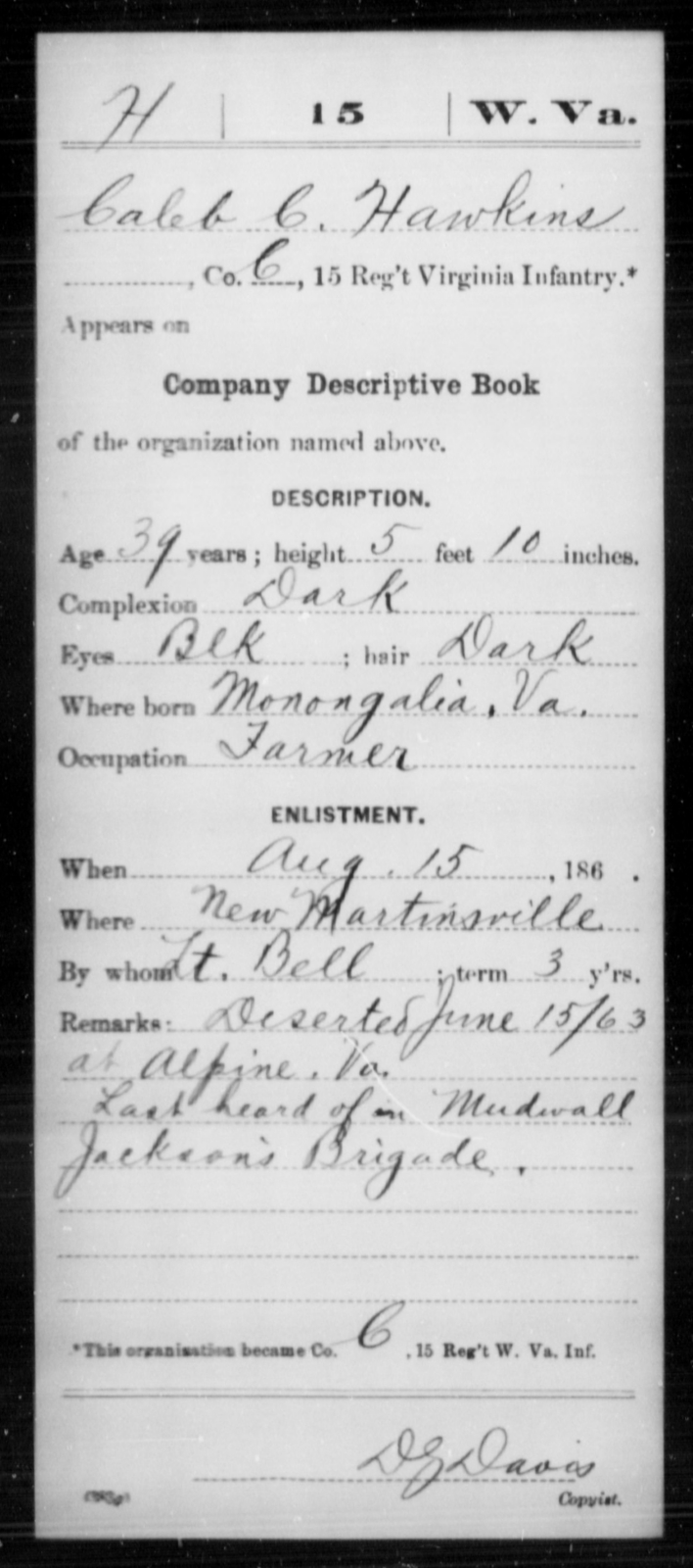 Hawkins, Caleb C - Age 39, Year: 1863 - Miscellaneous Card Abstracts of Records - West Virginia